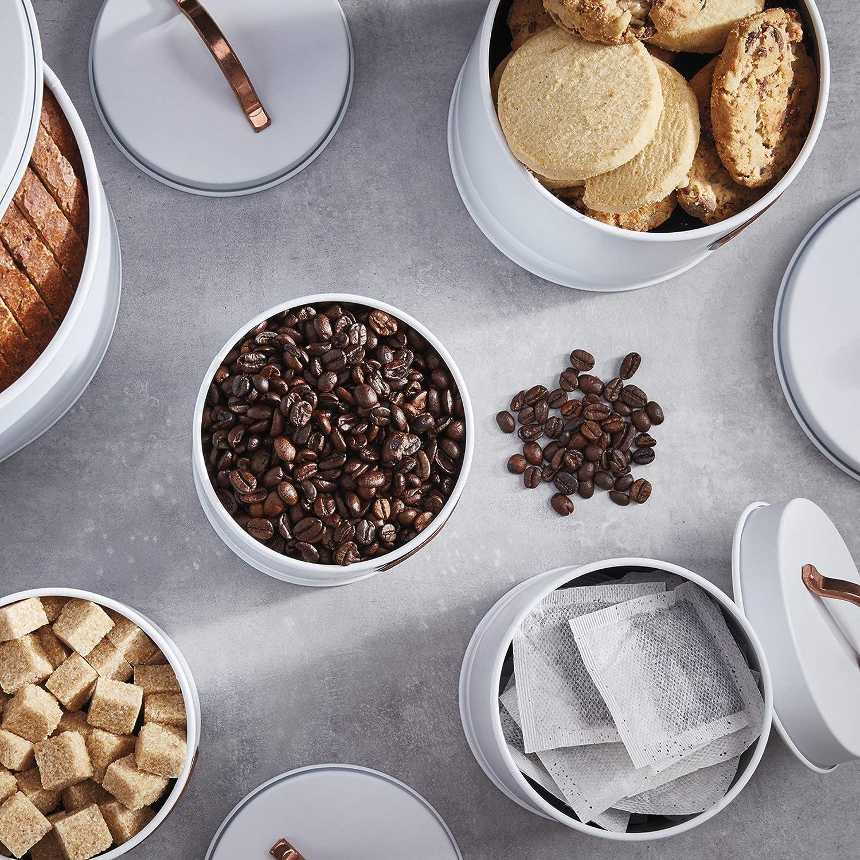 Caf/é Galletas y Pan con Detalles de Cobre Az/úcar Blanco//Cobre Cooks Professional Juego de 5 Recipientes de Lata para t/é