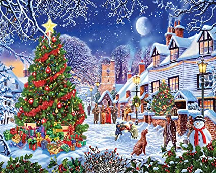 Christmas Mountain.White Mountain Puzzles Village Christmas Tree 1000 Piece Jigsaw Puzzle