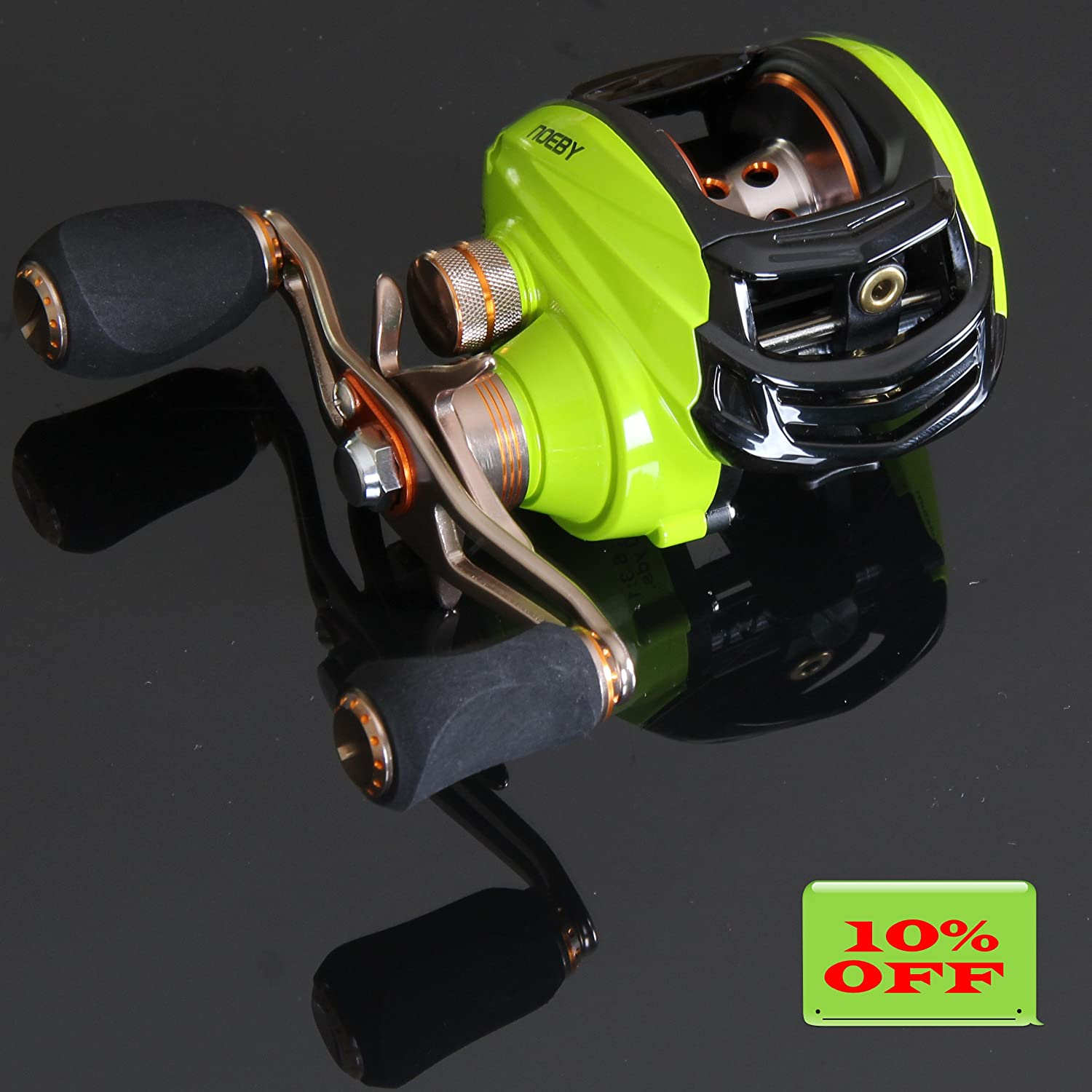 NOEBY Low Profile Baitcasting Fishing Reel with 10 1 Ball Bearings 6.3 1 Gear Ratio Saltwater Baitcast Baitcaster Fishing Reel