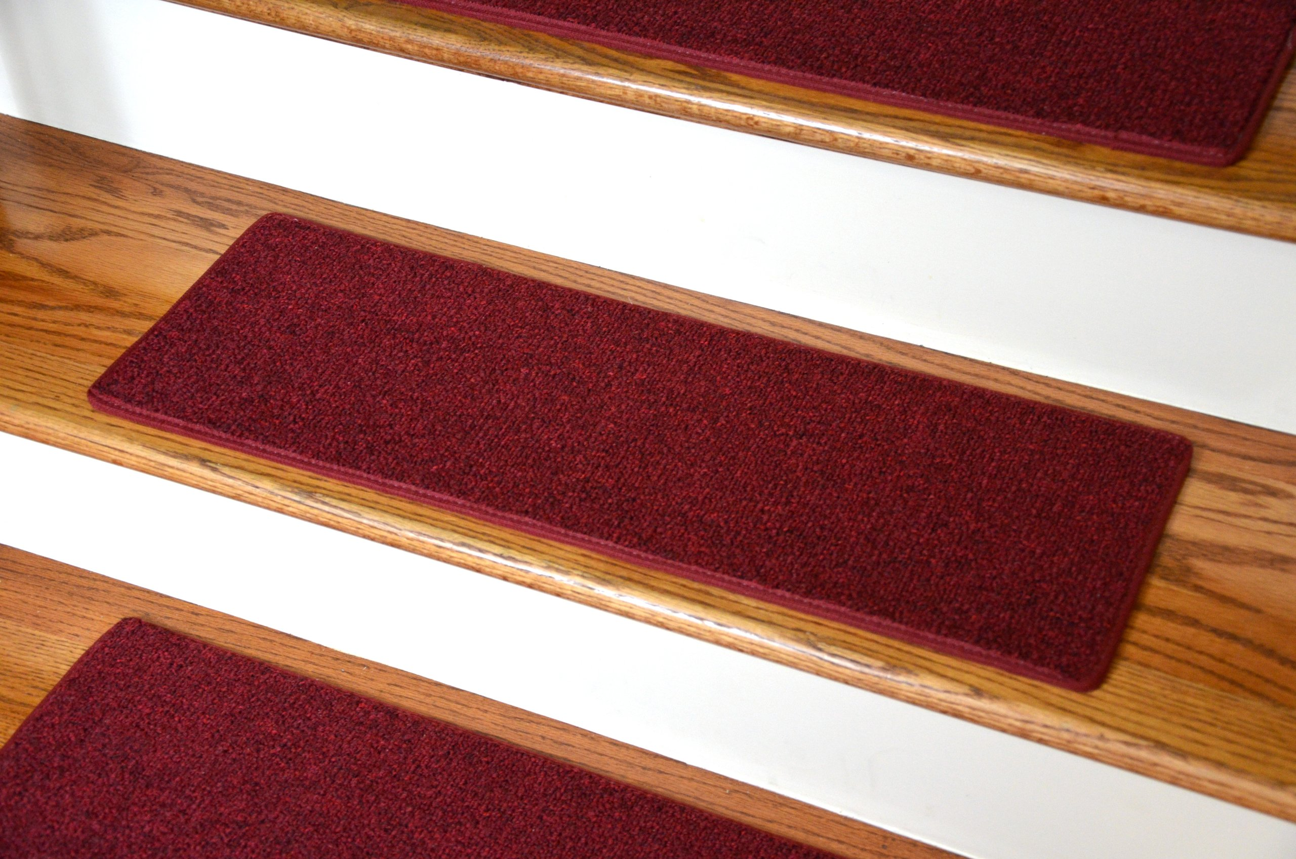 Dean Non-Slip Tape Free Pet Friendly DIY Carpet Stair Treads/Rugs 27'' x 9'' (15) - Color: Red