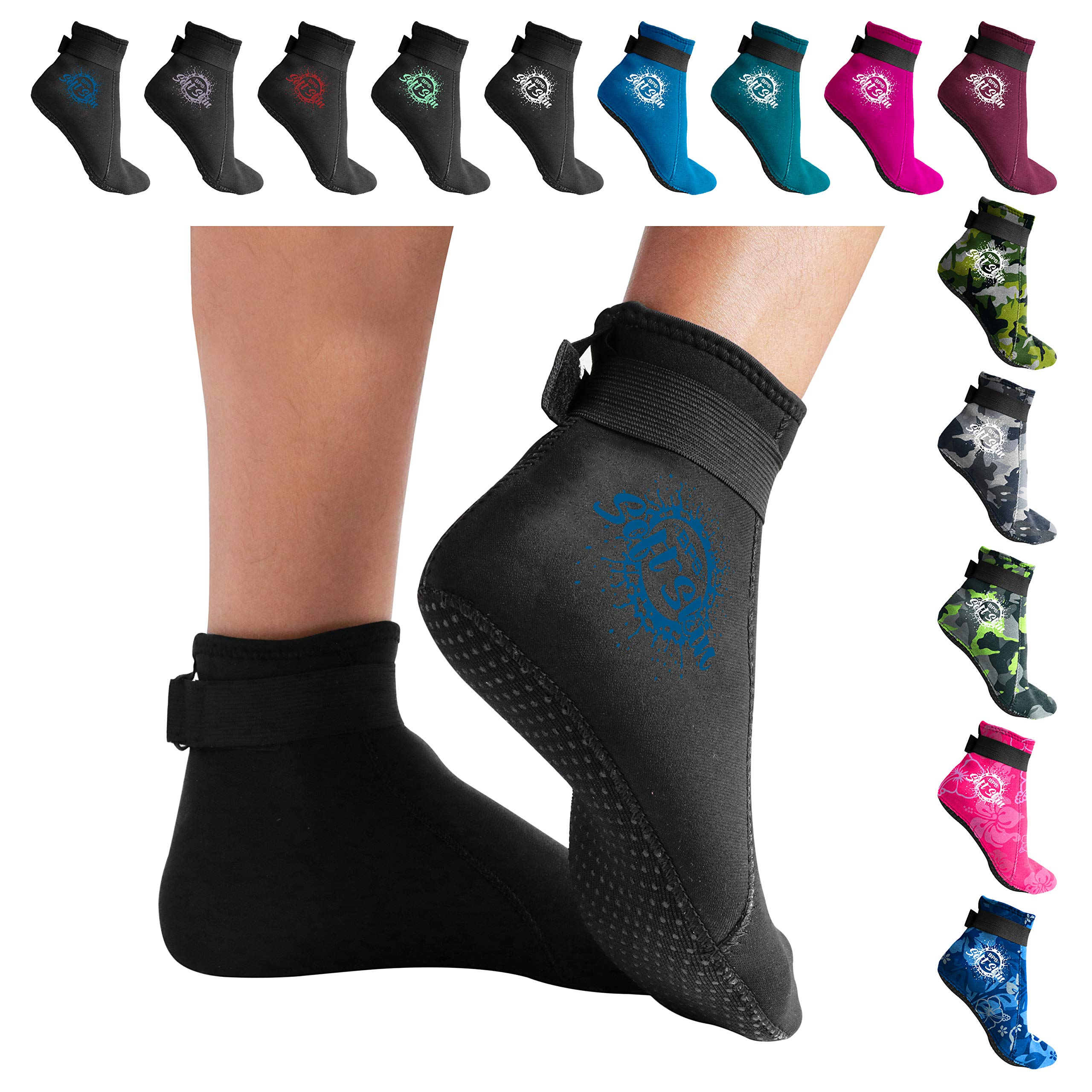 BPS 'Soft Skin' 3mm Neoprene Water Fin Socks w/Grip for Men and Women - Feet Cover for Beach Volleyball, Surfing, Snorkeling, Diving, Kayaking - Low Cut (Black/Snorkel Blue, L)