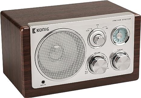 König de TR1000 Retro de Radio de Mesa en Madera Oscura: Amazon.es ...