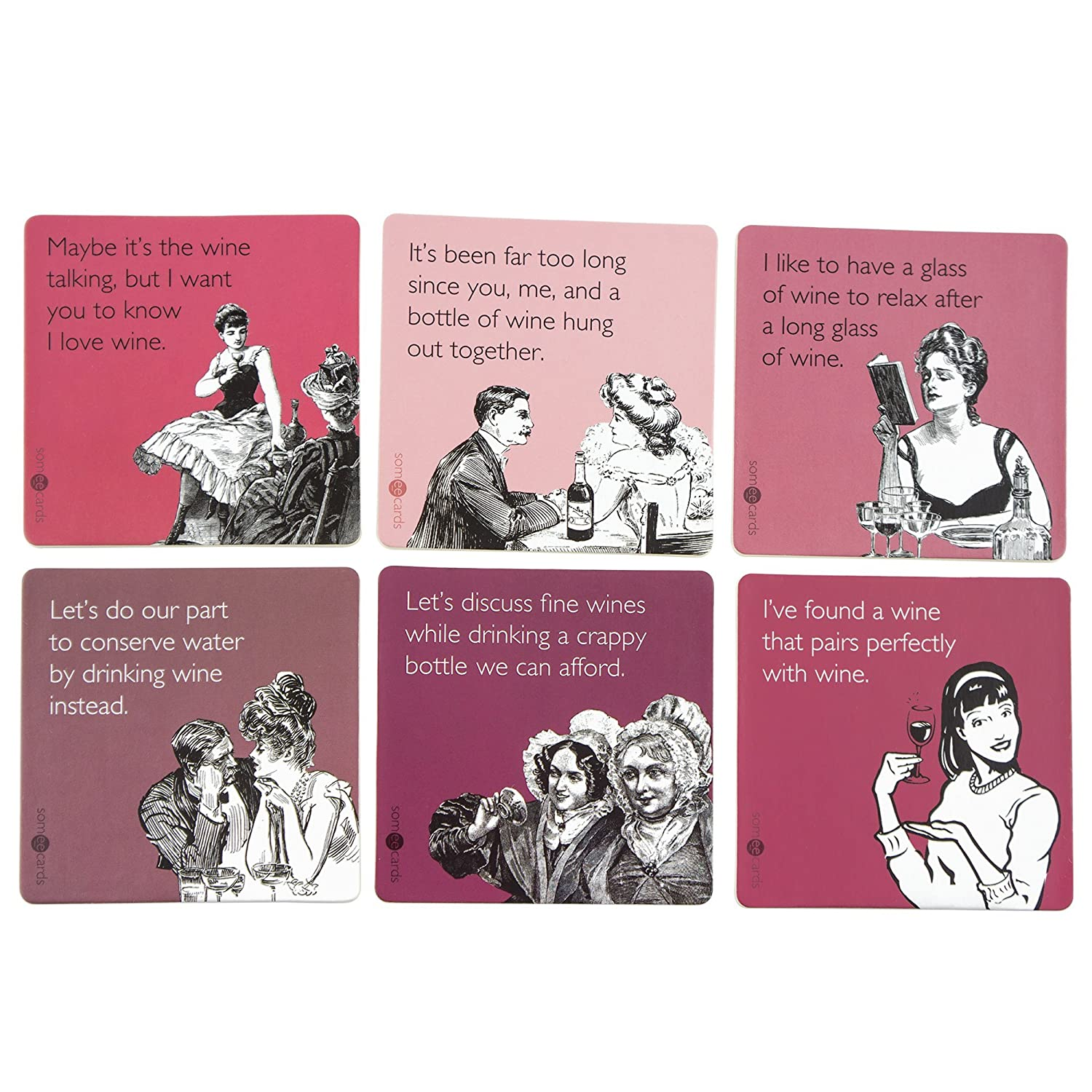 Wine Themed Someecards Coasters - Assorted 6 Pack