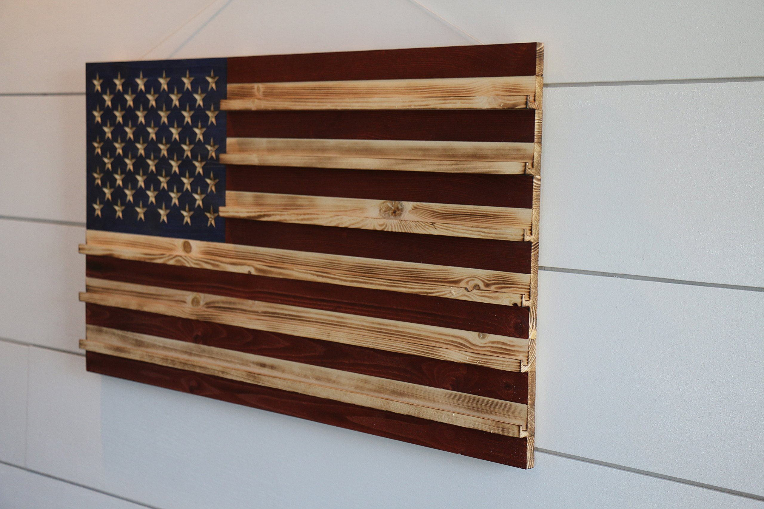Rustic American Flag Challenge Coin Display