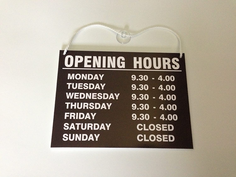 Cartel con horarios de apertura, para colgar: Amazon.es ...