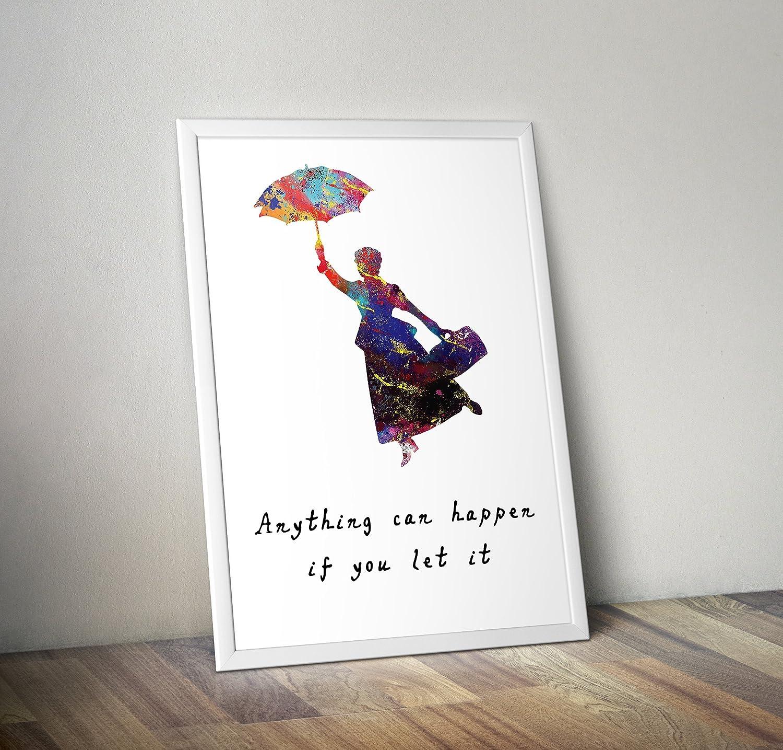 mary poppins Poster ispirati a stampa di acquerelli Poster - Poster TV/film alternativi in varie dimensioni (cornice non inclusa)