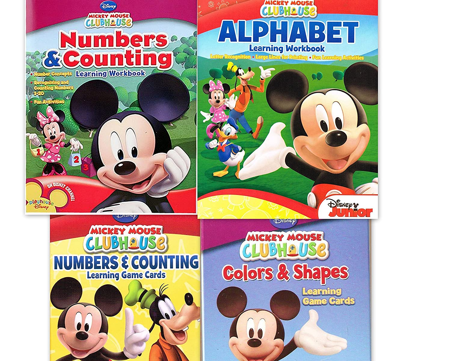 Mickey Mouse Clubhouse Workbook and Flashcard Learning Bundle Set of 4 includes 1 Numbers Counting Learning Flash Cards 1 Colors and Shapes Learning Flash Cards 1 Alphabet Learning Workbook 1 Numbers and Counting Learning Workbook by Disney
