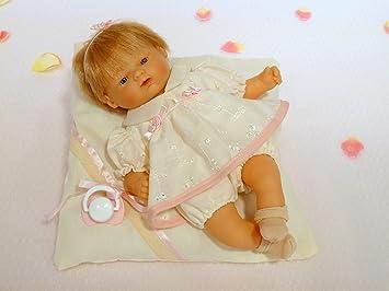 Nines Artesanals dOnil - Sueñecitos Boutique, muñeca bebé con cojín y Chupete (110)