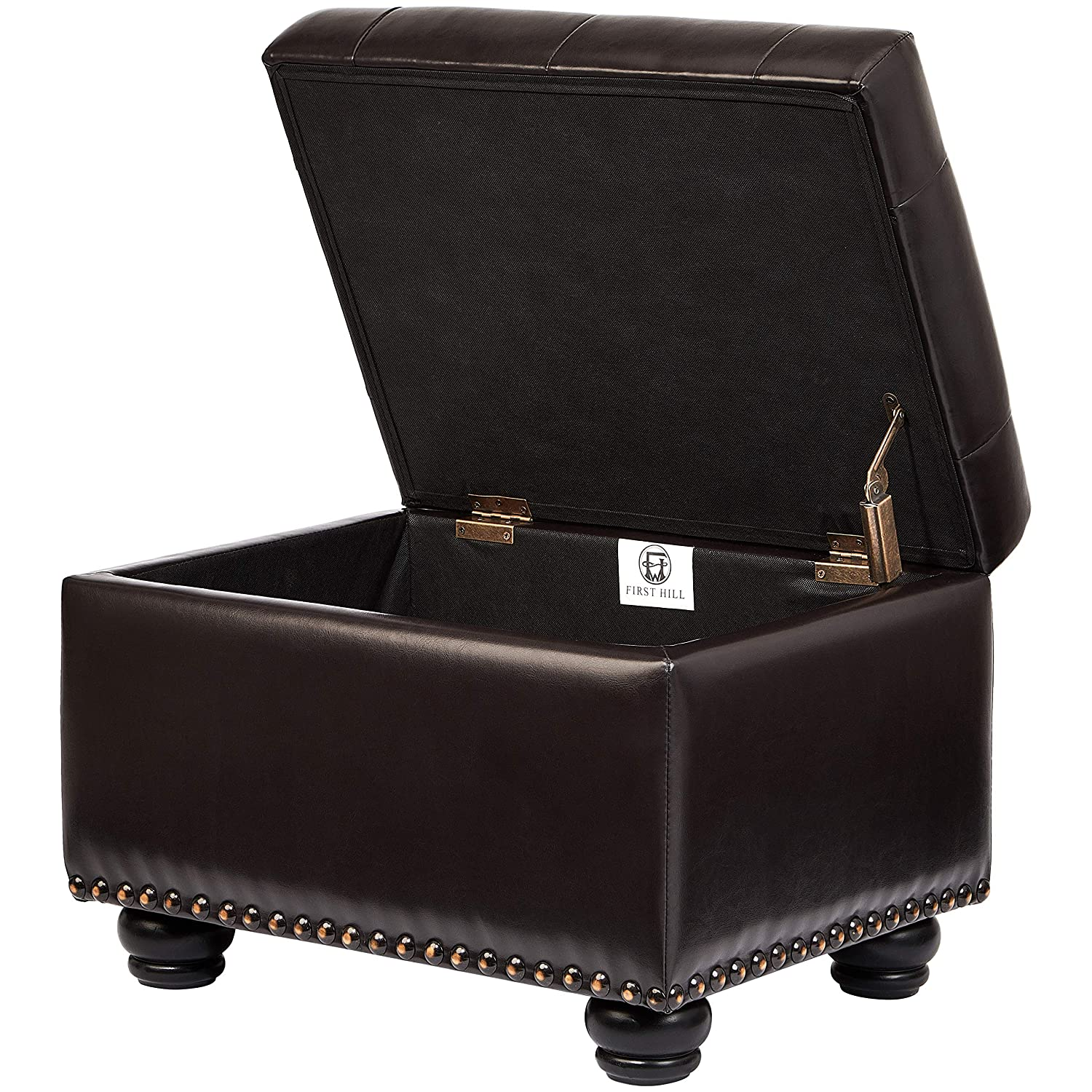 First Hill Callah Rectangular Faux-Leather Storage Ottoman with Tufted Design Monday Espresso