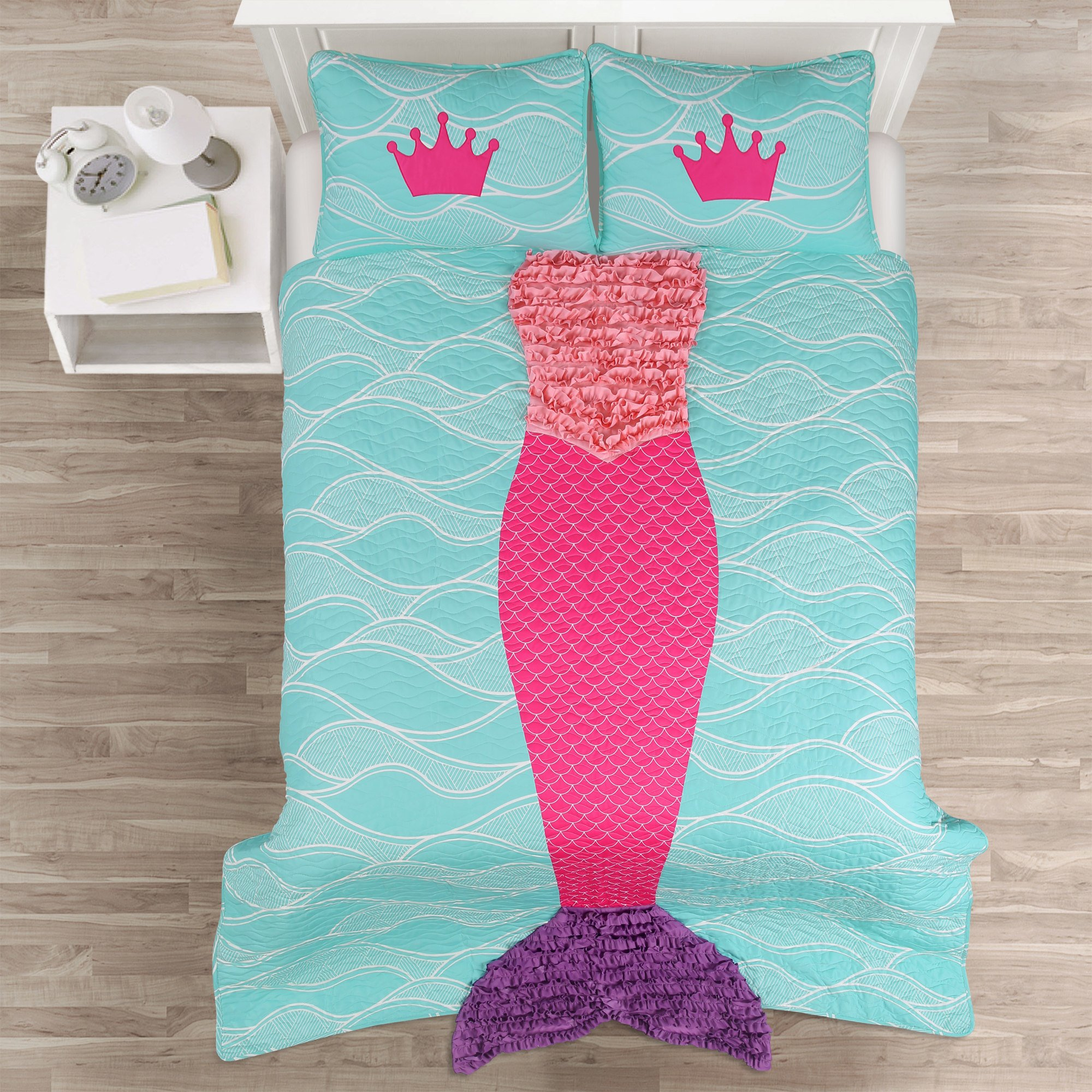 2 Piece Girls Pink Multi Ruffles Mermaid Theme Quilt Twin Set, Deep Sea Princess Whimsical Design, Blue Ocean Waves Background, Purple Embroidered Ruffled Tail, Super Soft & Snuggly Bedding, Polyester