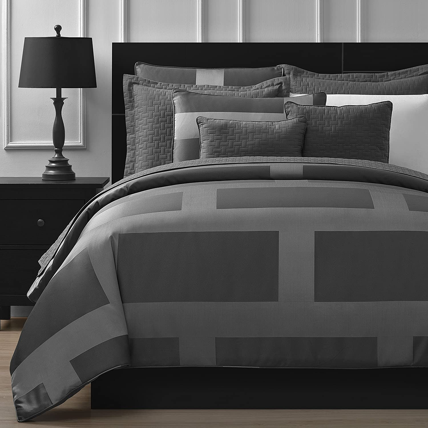 Comfy Bedding Frame Jacquard Microfiber 8-Piece Comforter and Coverlet Set (Queen, Gray