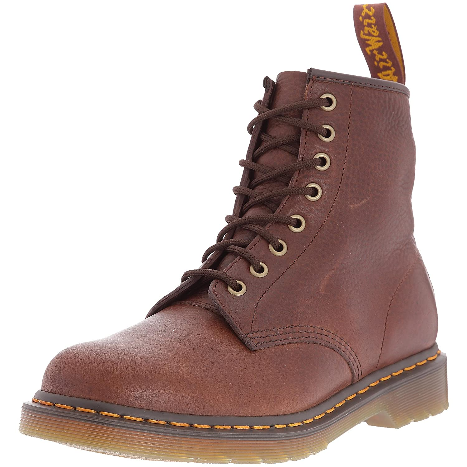 Brown Polished Leather Dr. Martens Men's 1460 Combat Boot