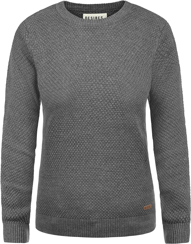 DESIRES Lea Damen Strickpullover Feinstrick Pullover Mit Lochstrickmuster Und Rundhals Aus 100/% Baumwolle Loose Fit