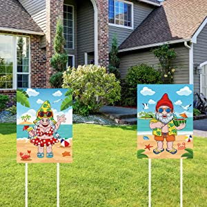 2 Pieces Summer Yard Sign Beach Theme Gnome Yard Sign Welcome Garden Signs Stakes for Home Garden Party Decorations Supplies, 2 Styles