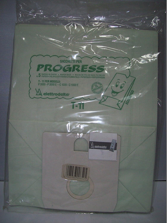 T11 CONFEZIONE DA 5 SACCHI FILTRO PER PROGRESS P3000-P3000 E-C1000-C1000 E