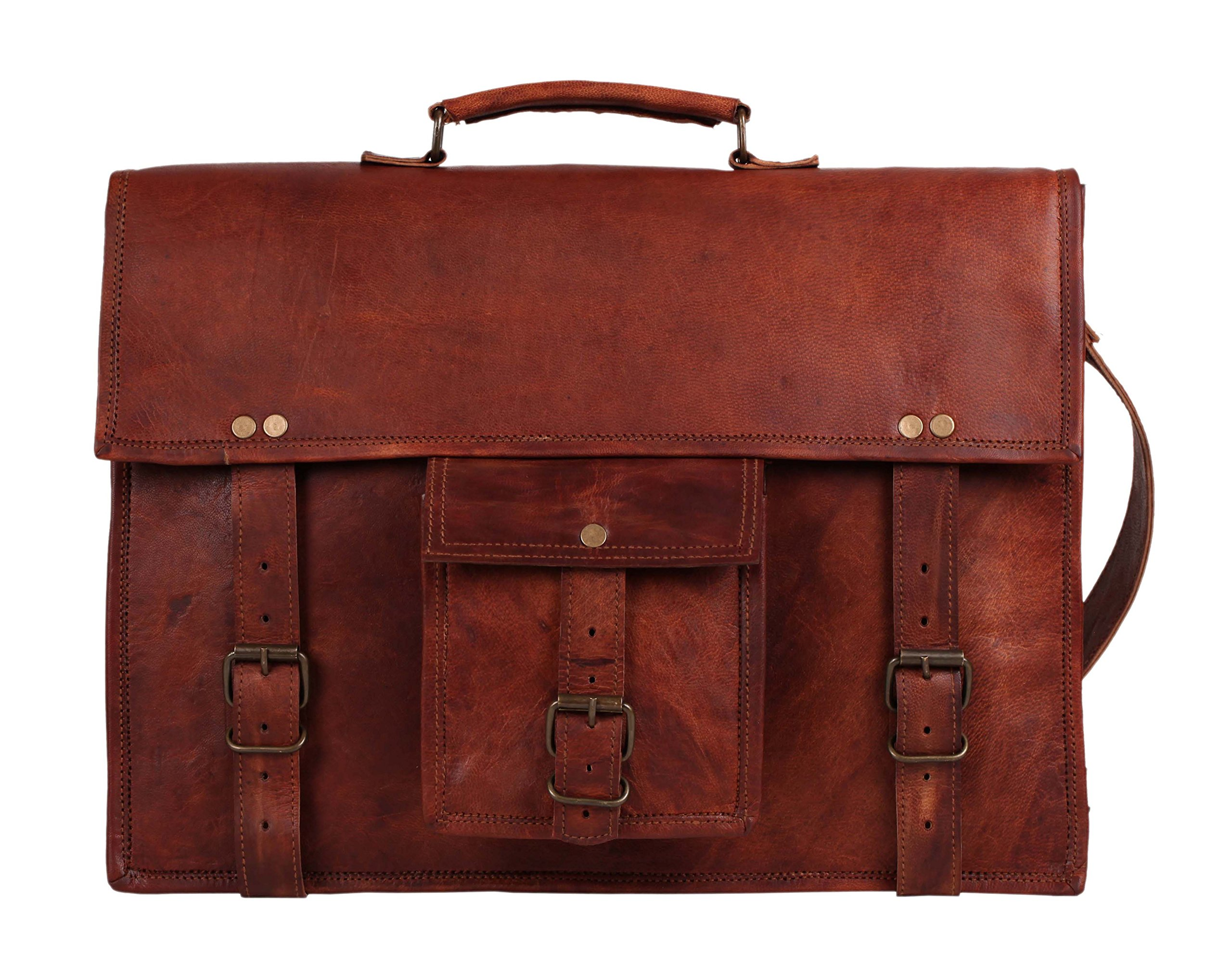 18 Inch GENUINE LEATHER Rustic Crossbody Messenger Courier Satchel Bag Gift Men Women ~ Business Work Briefcase Carry Laptop Computer Book Handmade Rugged Distressed ~ Everyday Office College School