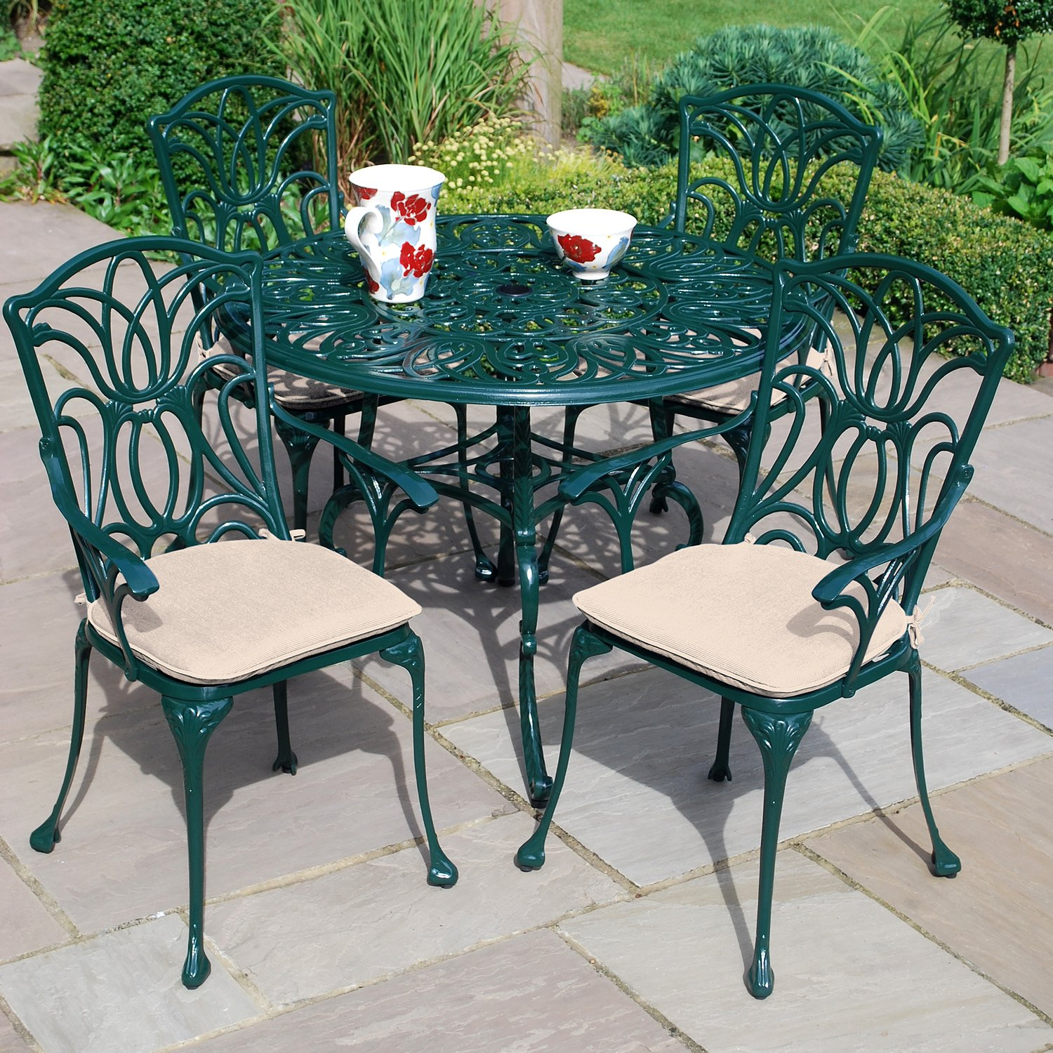 collection garden furniture accessories pictures. Leisuregrow Norfolk 4 Seater 100cm Round Aluminium Table With Green Armchairs - Metal Garden Furniture Set Dining Outdoor Patio And Collection Accessories Pictures T