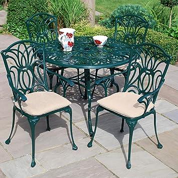 leisuregrow norfolk 4 seater 100cm round aluminium table with green armchairs metal garden furniture setleisuregrow norfolk 4 seater 100cm round aluminium