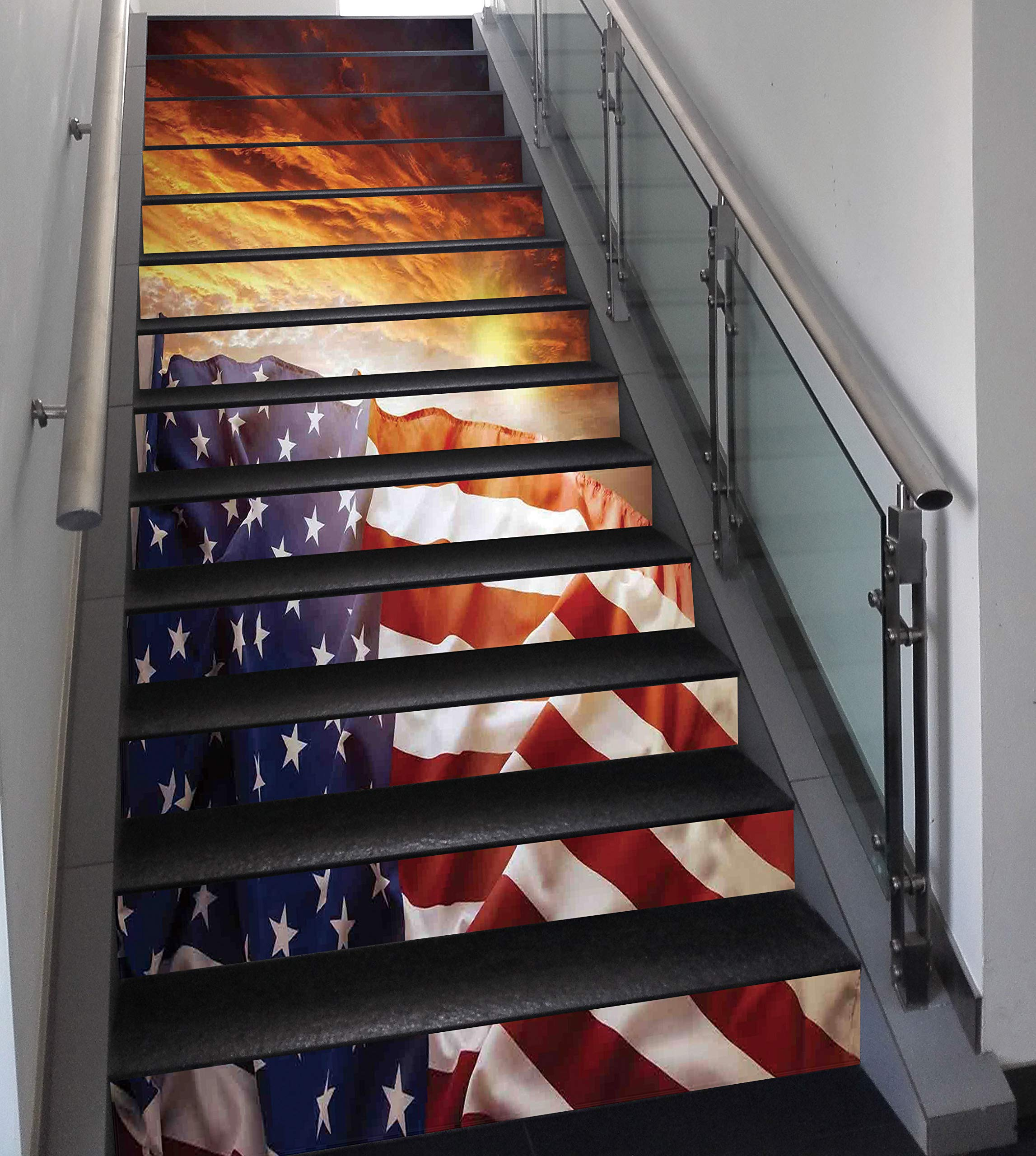 Stair Stickers Wall Stickers,13 PCS Self-adhesive,American Flag Decor,Flag in front of Sunset Sky with Horizon Light America Union Idyllic Photo,Multi,Stair Riser Decal for Living Room, Hall, Kids Roo