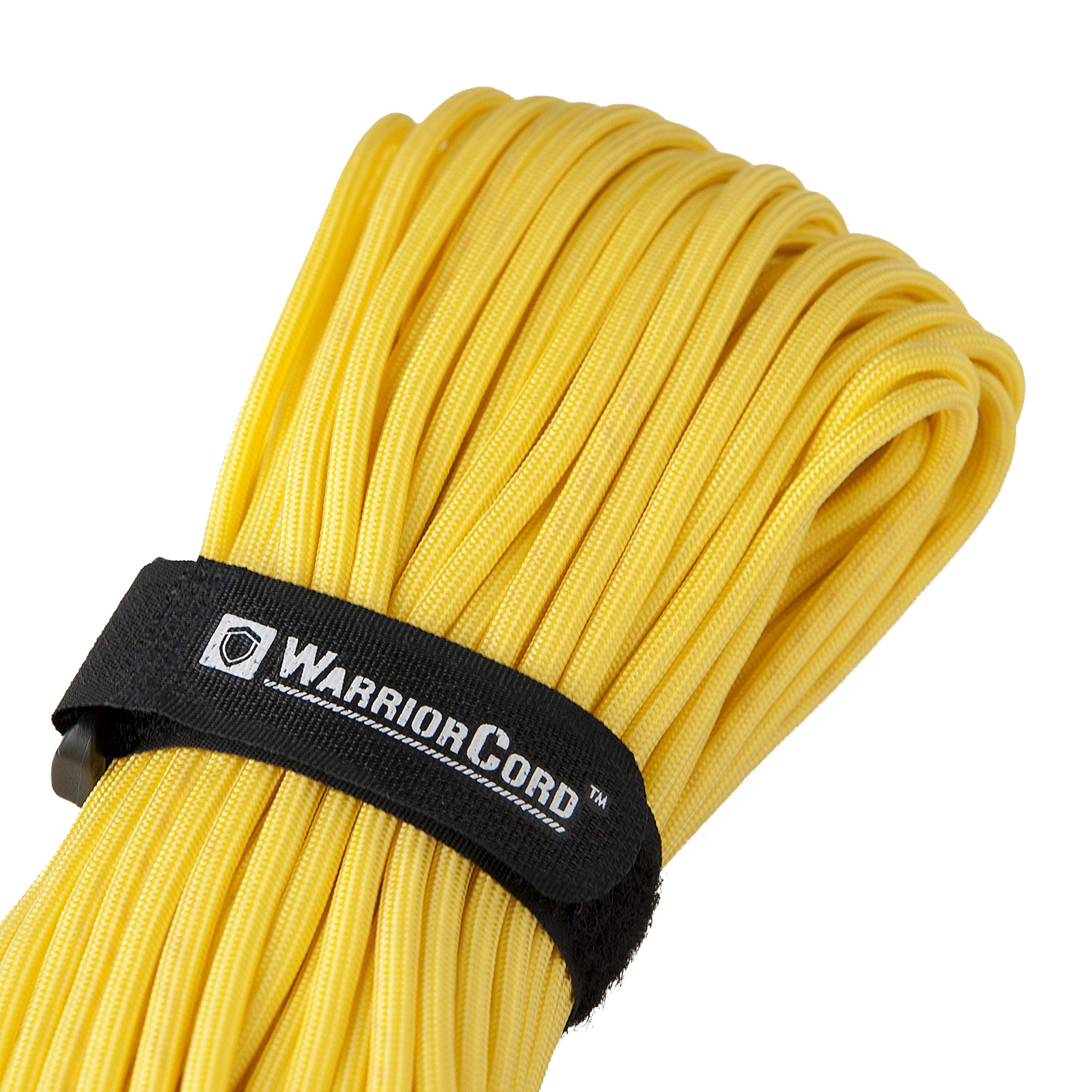 TITAN WarriorCord | YELLOW | 103 CONTINUOUS FEET | Exceeds Authentic MIL-C-5040, Type III 550 Paracord Standards. 7 Strand, 5/32'' (4mm) Diameter, Military Parachute Cord.