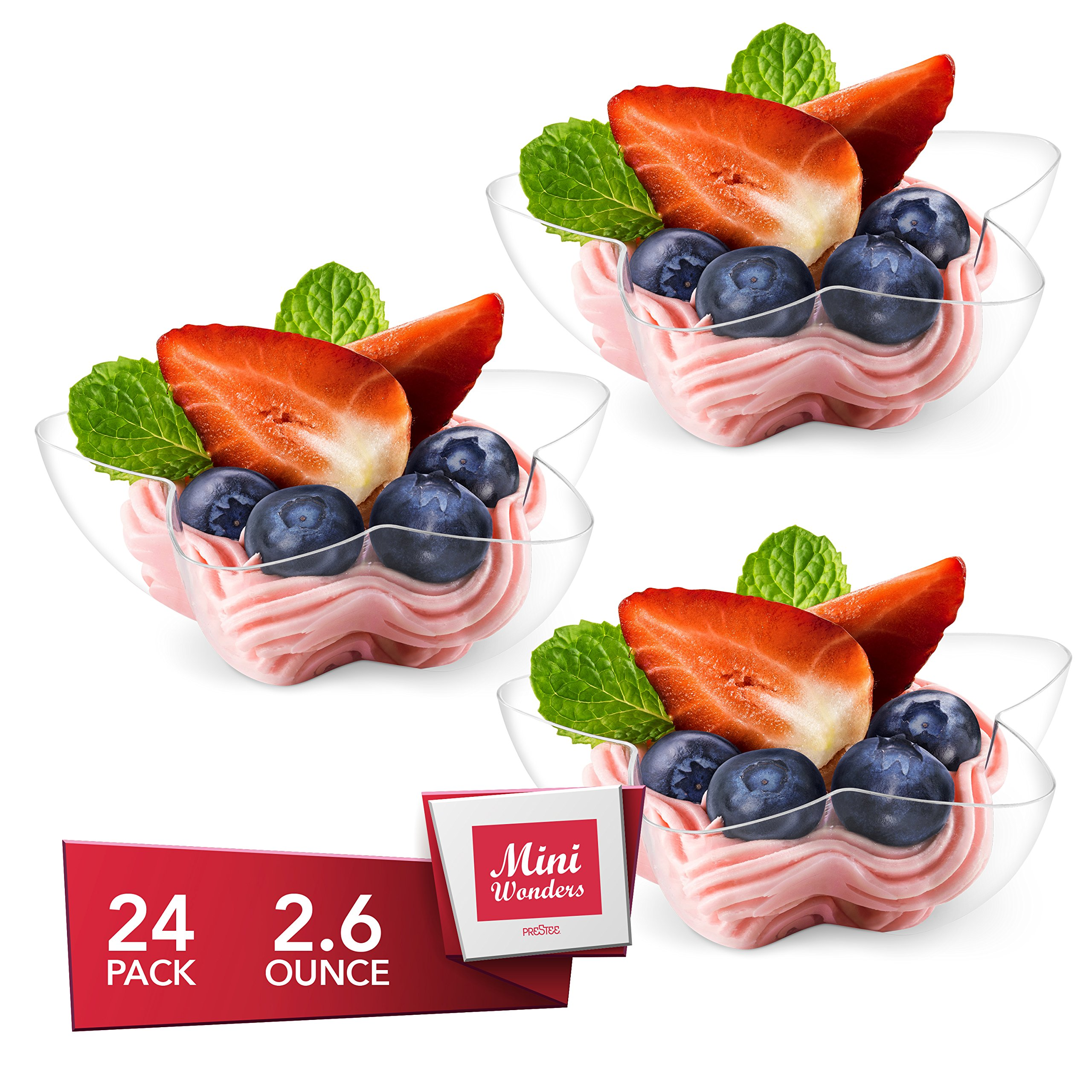 MINI WONDERS Heavy Duty Plastic Single Serve Small Star Bowl 2.6 oz Dessert Cups 24 Count Clear Personal Appetizer Bowls - Disposable Reusable Party Dishes