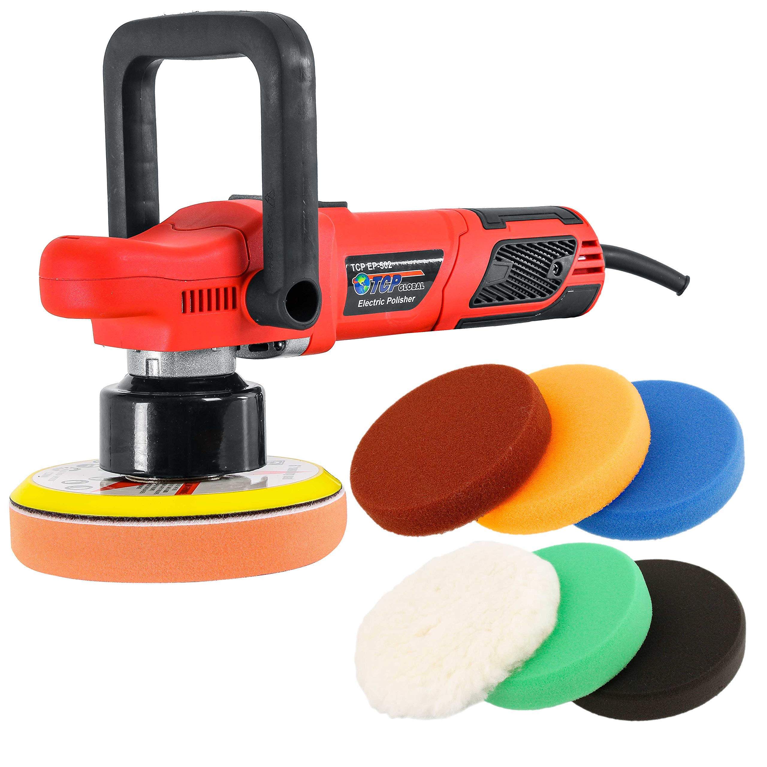 TCP Global Model EP-502-6'' Variable Speed Random Orbit Dual-Action Polisher with a 6 Pad Professional Buffing and Polishing Kit - Buff, Polish & Detail Car Auto Paint by TCP Global