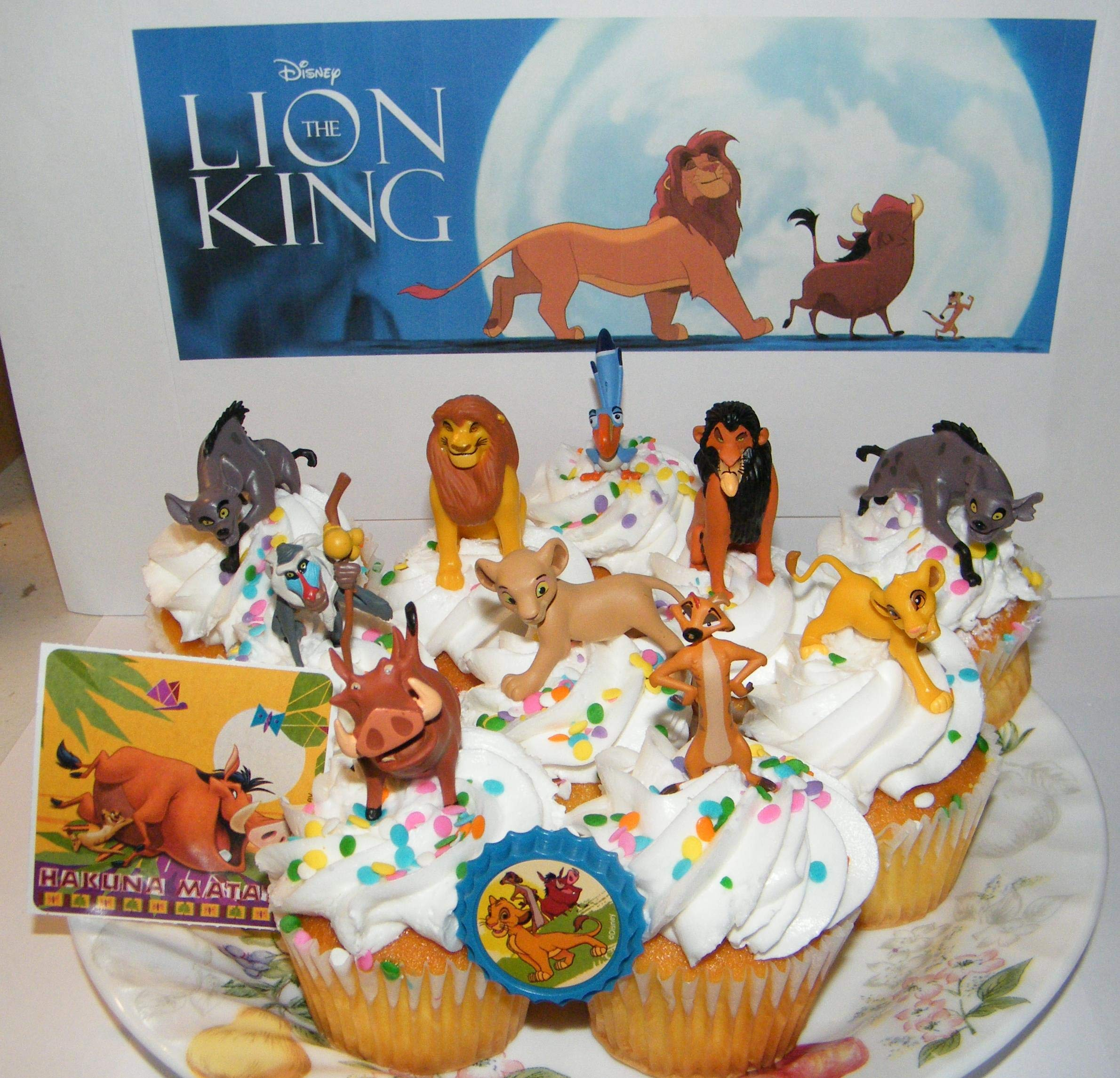 The Lion King Movie Deluxe Cake Toppers Cupcake Decorations 12 Set with 10 Figures, Movie Sticker and LKRing Featuring Simba, Scar, Hyenas and Much More! by Party Time