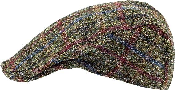 BROWN SCOTTISH HARRIS TWEED 4 QUARTER SCOTS BUNNIT FLAT CAP DRIVING HAT SCOTLAND