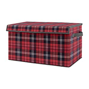 Sweet Jojo Designs Red and Black Woodland Plaid Flannel Boy Baby Nursery or Kids Room Small Fabric Toy Bin Storage Box Chest for Rustic Patch Collection