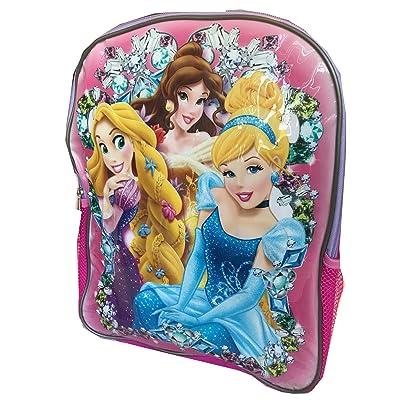 "15"" Disney Princess School Backpack ~ Rapunzel, Cinderella & Belle"