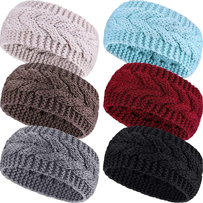 Pangda 6 Pieces Winter Headbands Women's Cable Knitted Headbands, Winter Chunky Ear Warmers Suitable for Daily Wear and Sport (Multicolored) best winter headbands