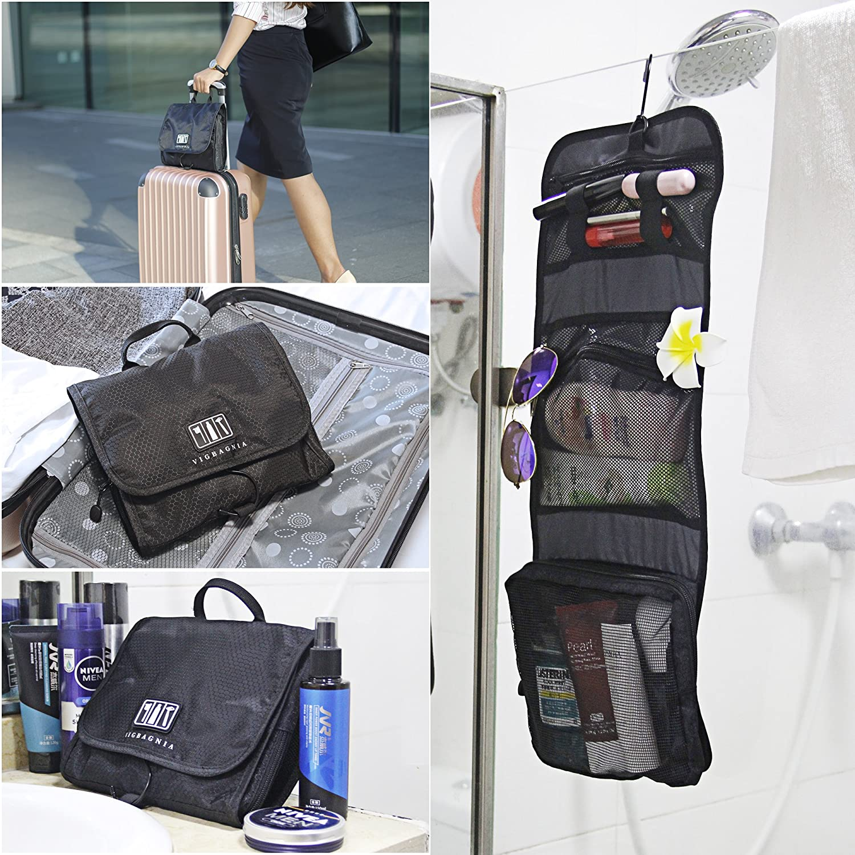 d227ee476629 VIGBAGNIA Hanging Toiletry Bag Women Cosmetic Makeup Bag Waterproof Travel  Accessories Organizer for Business Leisure Travel(Black)  Amazon.in  Beauty