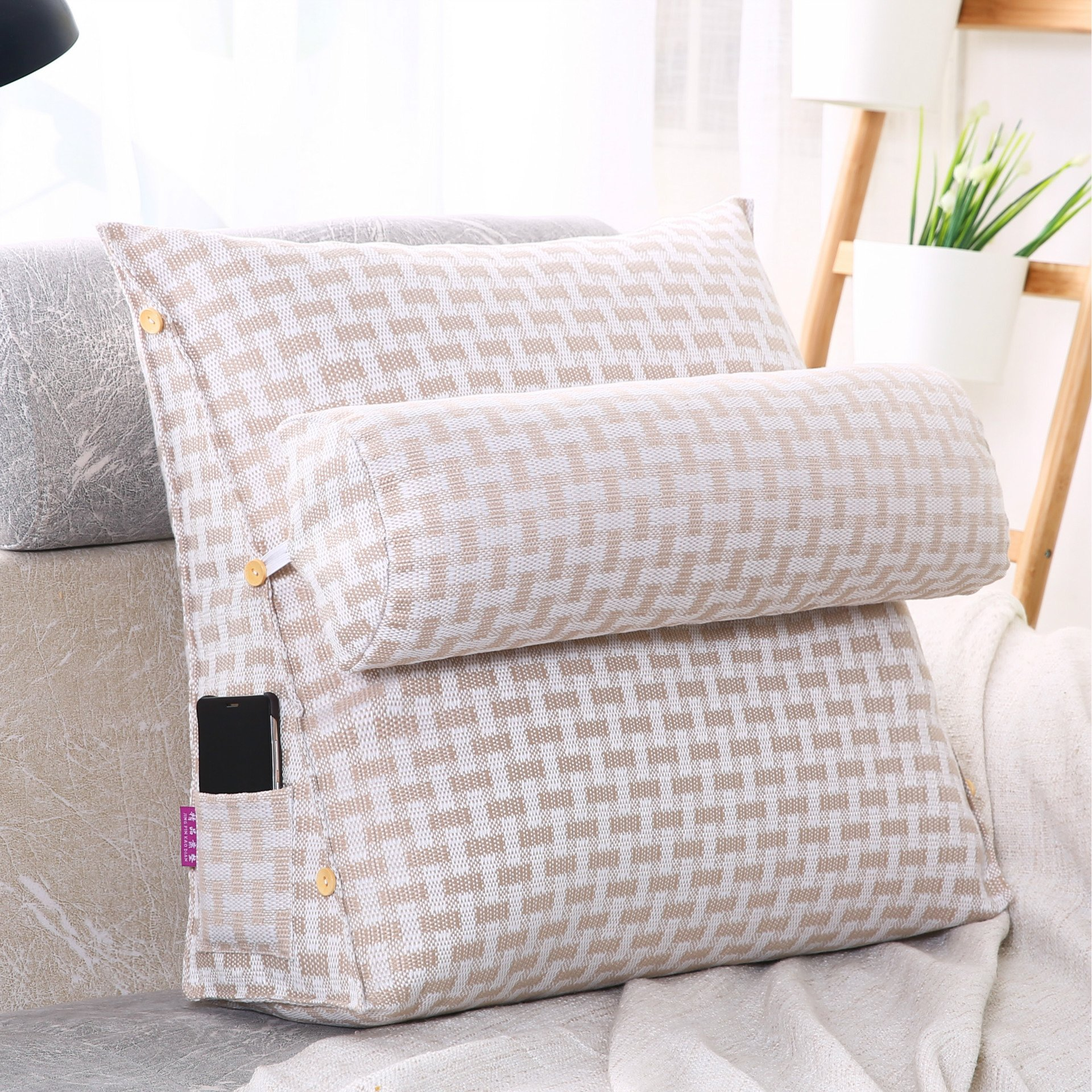 LUOTIANLANG Office sofa cushion pillow waist pillow for pregnant women Home Furnishing ornaments triangle comfortable cushion,White lattice,50x200x20cm