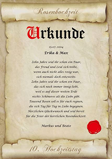 Rosenhochzeit Urkunde Personalisiert Geschenk Karte Zum 10 Hochzeitstag Din A4