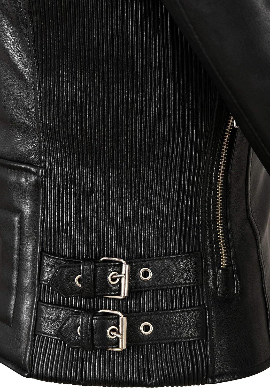 Giacca da Donna in Vera Pelle Nera Morbida Pelle di Agnello Stile Casual Moda Biker 1989