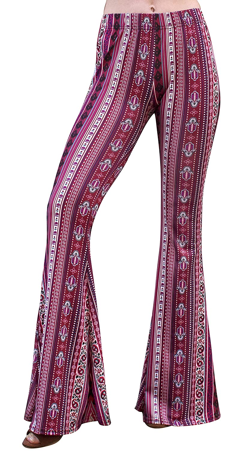 3a3916ff7383ce Daisy Del Sol High Waist Gypsy Comfy Yoga Ethnic Tribal Stretch Palazzo 70s  Bell Bottom Fit to Flare Pants at Amazon Women's Clothing store: