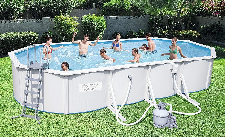 Bestway Hydrium Oval Juego de piscina con filtro de arena y accesorios: Amazon.es: Jardín