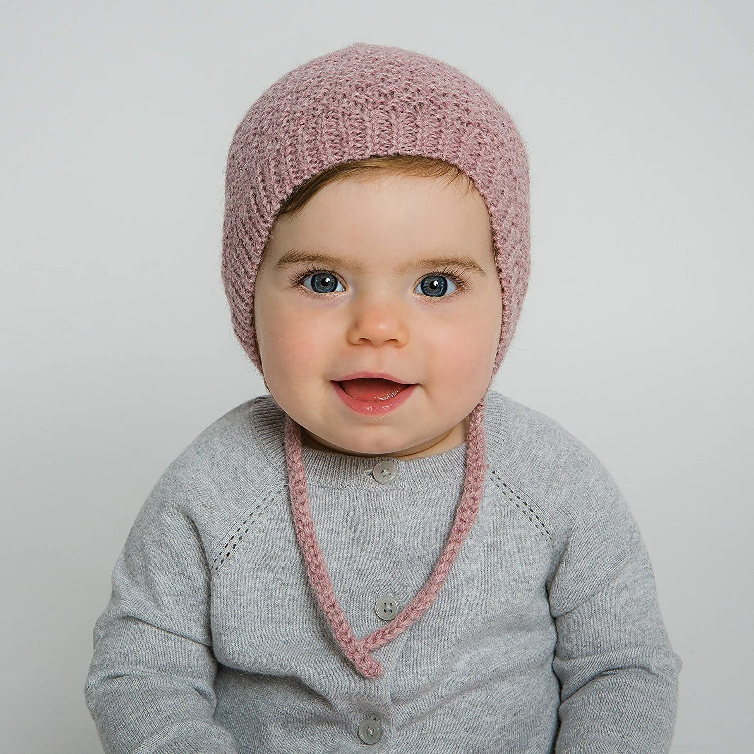 Hand-Knit 100% Organic Alpaca Wool | Ica Bonnet Hat (Pink) by Surhilo | Soft, Quality, Hypoallergenic | The Perfect and Eco-Friendly Way to Keep Your Baby and Toddler Cozy and Comfortable