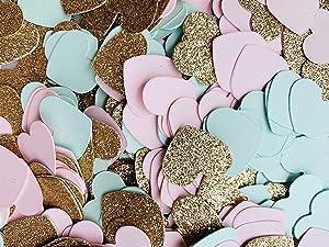 Fonder Mols Blush Pink Mint Rose Gold Glitter Paper Heart Confetti for Bridal Shower, Wedding Table Decor, Baby Shower Table Decorations 500pcs per Bag