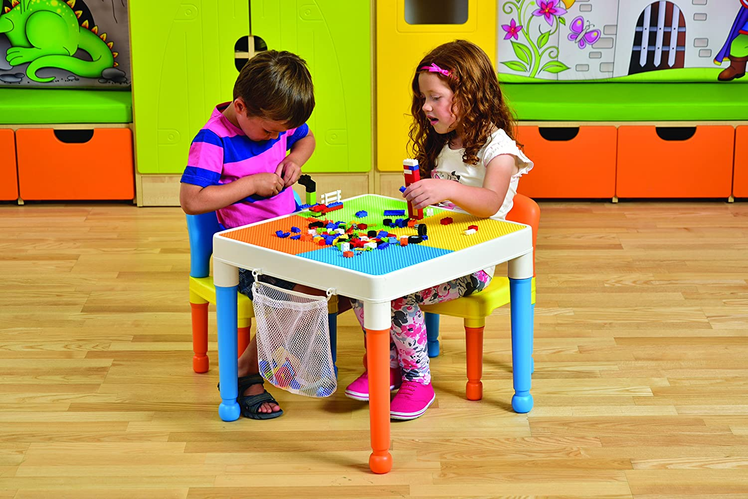 Liberty House Toys 652F-1 Multi-Purpose Building Block Construction Table with Storage Bag