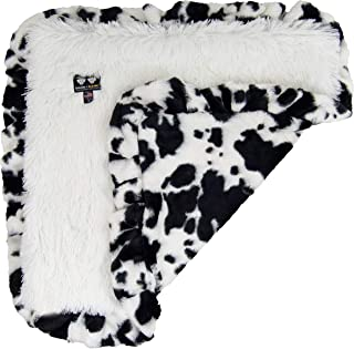 """product image for Bessie and Barnie Spotted Pony/ Snow White Luxury Shag Ultra Plush Faux Fur Pet, Dog, Cat, Puppy Super Soft Reversible Blanket (Multiple Sizes), XS - 20"""" x 20"""""""