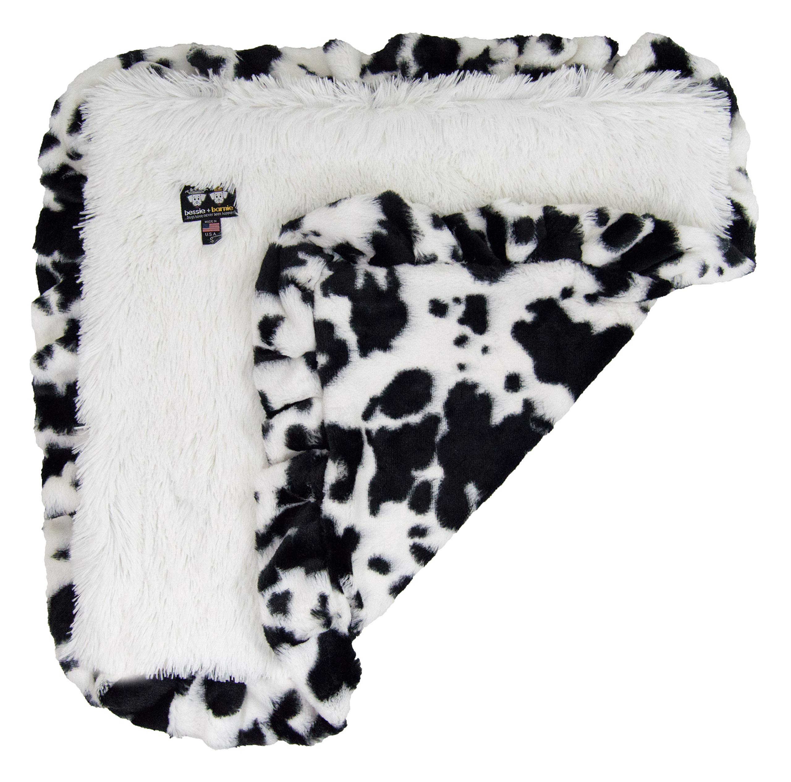 Bessie and Barnie Spotted Pony/ Snow White Luxury Shag Ultra Plush Faux Fur Pet, Dog, Cat, Puppy Super Soft Reversible Blanket (Multiple Sizes), LG - 56'' x 36'' by Bessie and Barnie