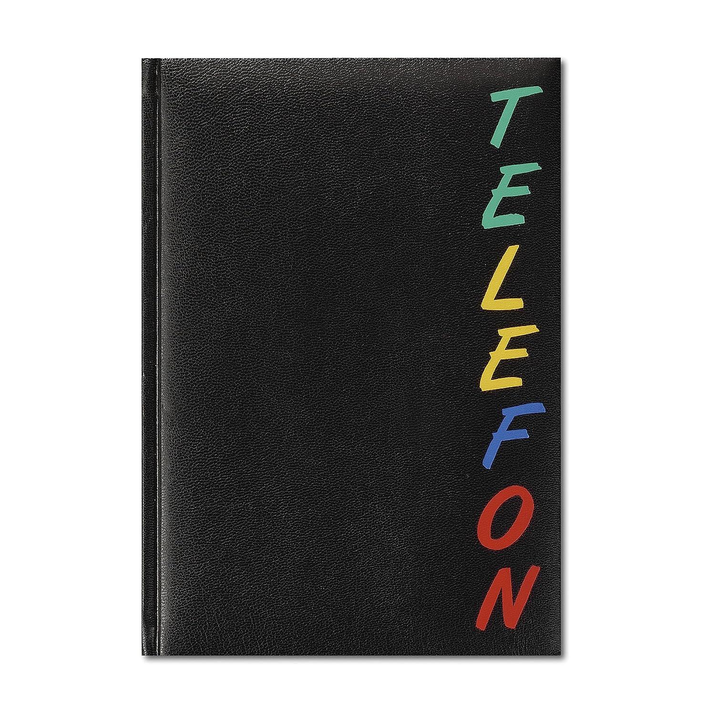 Herlitz 22376 Adressbuch A5 Rainbow, wattierter Einband, schwarz, mit 24-teiligem Register, A-Z Telefonbuch