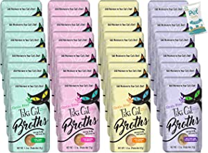 (2 Boxes) Tiki Cat Savory Broth, Grain Free Lickable Wet Food Treat, Add Moisture & Boost Flavor, 24 Pouches with 10ct pet Wipes
