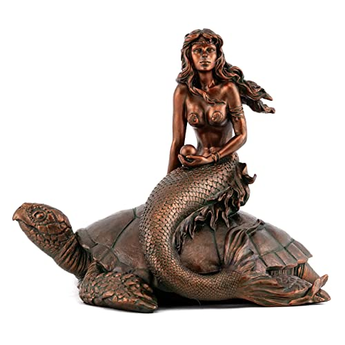 Top Collection Mermaid Holding Pearl on Sea Turtle Statue- Hand Painted Collectible Mythical Creature Sculpture with Bronze Finish Look- 6-Inch Decorative Fantasy Figurine