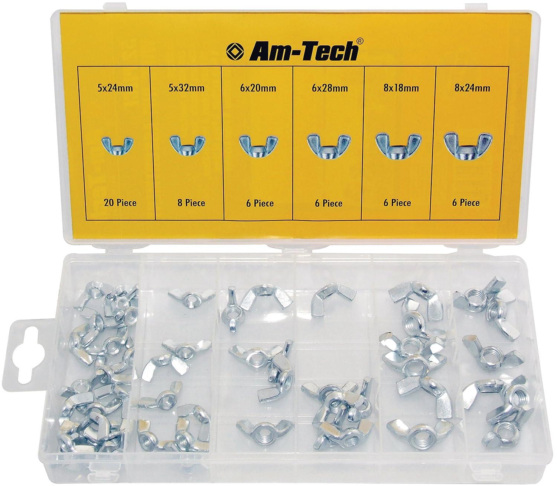 Am-Tech Lot de 52 vis papillon S6250