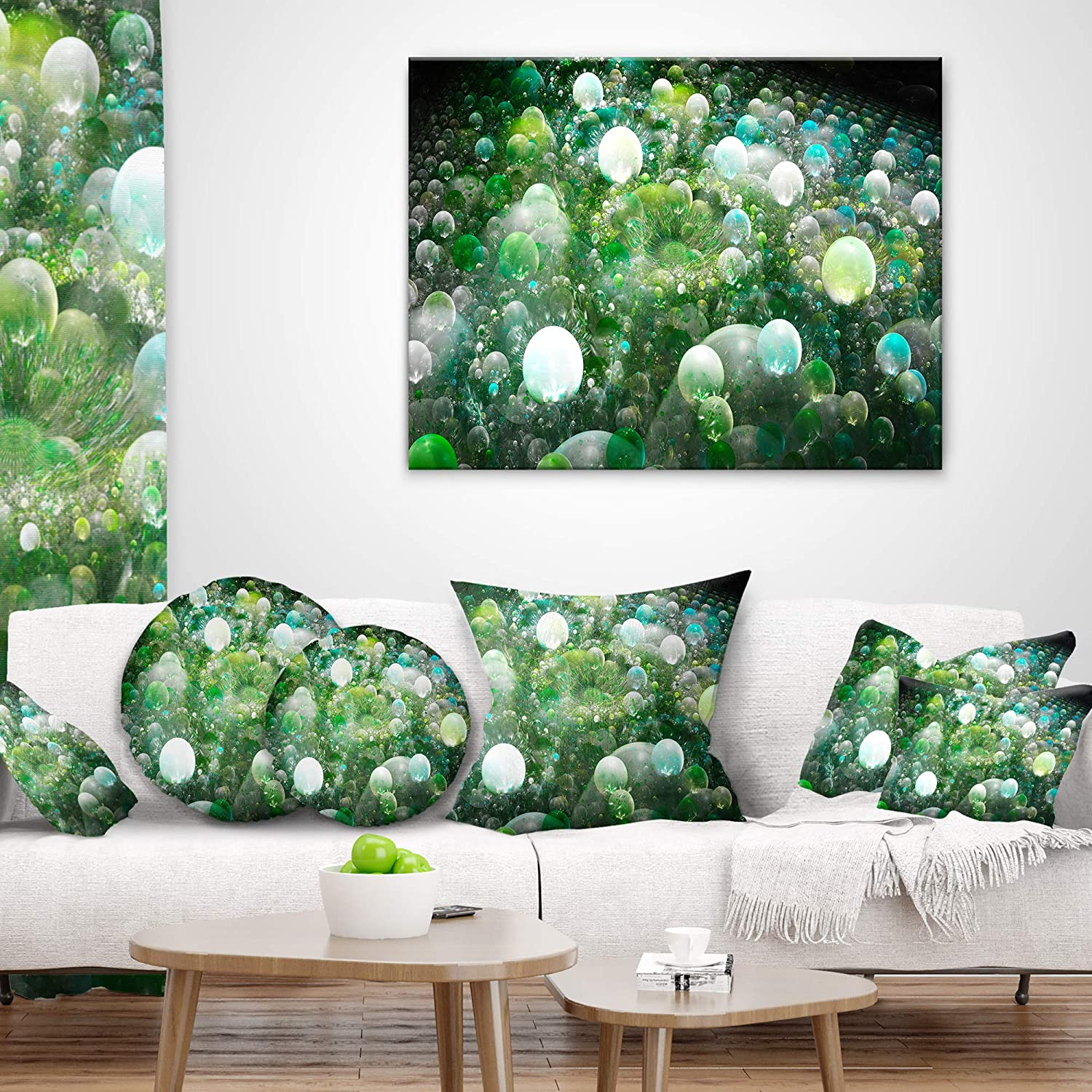 x 20 in in Sofa Throw Pillow 12 in Designart CU16294-12-20 Green Fractal Molecule Pattern Abstract Lumbar Cushion Cover for Living Room