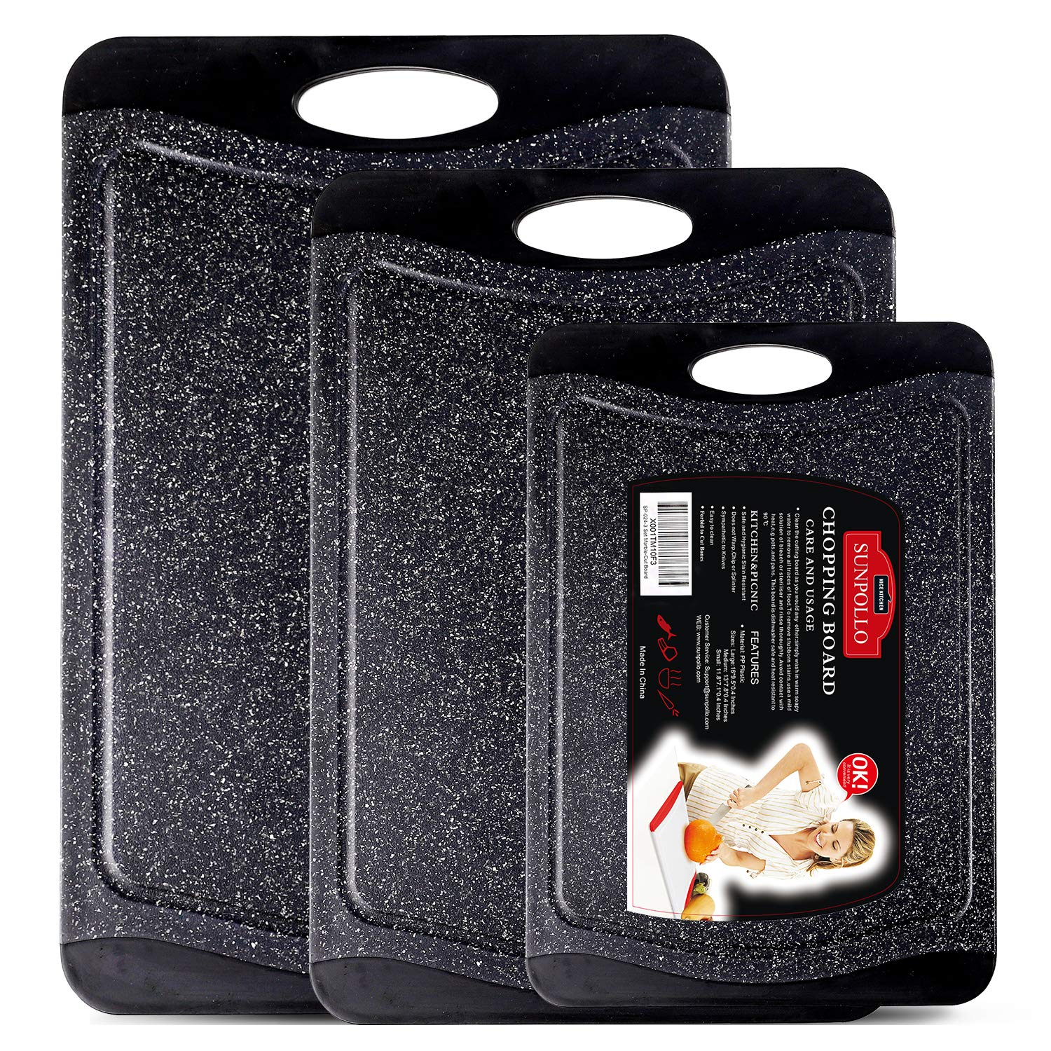 SUNPOLLO Large Cutting Board (3-Piece Set), Plastic Kitchen Chopping Board with Juice Groove - Marble Appearance, Non Slip, BPA Free, Dishwasher Safe and Larger Thicker Boards by SUNPOLLO