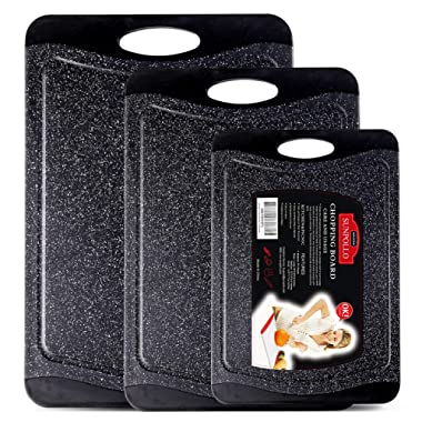 SUNPOLLO Large Cutting Board (3-Piece Set), Plastic Kitchen Chopping Board with Juice Groove - Marble Appearance, Non Slip, BPA Free, Dishwasher Safe and Larger Thicker Boards