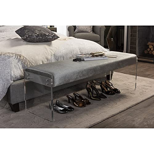Baxton Studio Hildon Modern and Contemporary Microsuede Fabric Upholstered Luxe Bench with Paneled Acrylic Legs, Grey